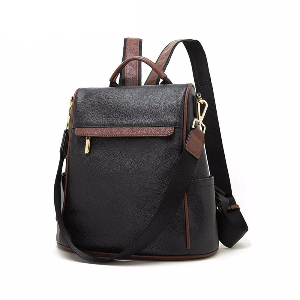 Backpack Genuine Leather Backpack Female Large Capacity School Bag Simple Shoulder Bags for Women 2019 Travel Bags - LiveTrendsX