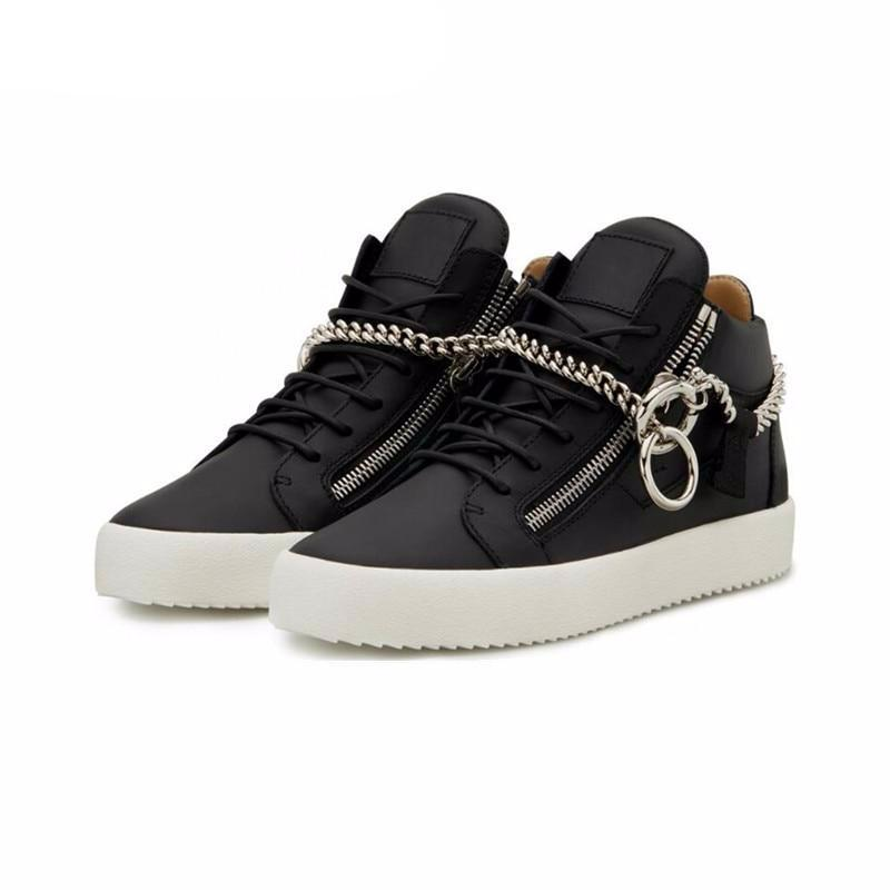 Lace Up Mens Sneakers Casual Leather Shose Men Side Zipper Chain Flats Height Increasing Men Shoes Spring Autumn White Shoes Men - LiveTrendsX