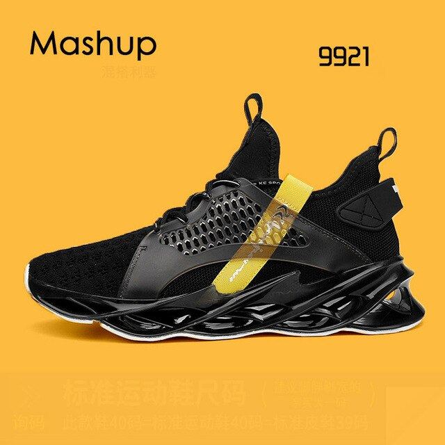 New High Top Blade Series Sports Shoes Cushioning Running Shoes for Men Wearable Sole Professional Athletic Black Jogging Shoes - LiveTrendsX