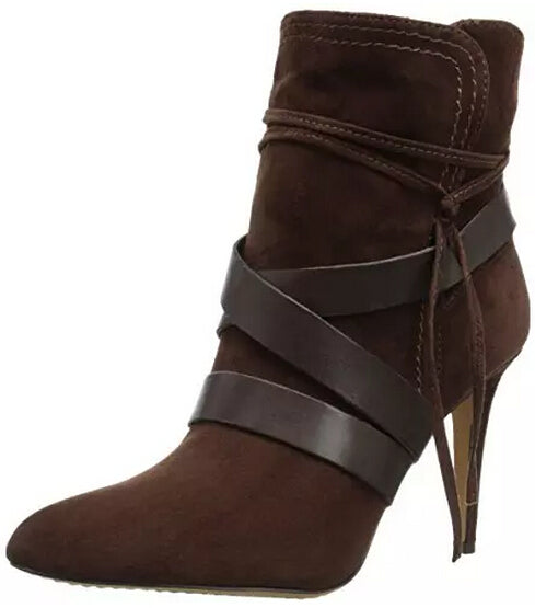 Hot Selling Dark Browm Women Ankle Winter Boots Pointed Toe Lace-up Wide Strap Zipper Short Bootie Thin Heels Ladies Dress Shoes - LiveTrendsX