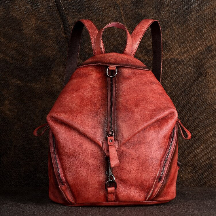 Handmade Women Backpack Vintage Genuine Leather Solid Color Soft Handle Sofe Cow Leather Leisure Fashion Travel Bags - LiveTrendsX
