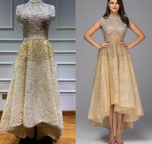 Gold High Neck Luxury Asymmetrical Evening Dresses 2020 Beading Sequined Sleeveless Evening Gowns