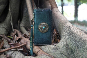 Handmade Women Manual Dyeing Wallets Purses Men Clutch Vegetable Tanned Leather Wallet Parts that can be rotated - LiveTrendsX