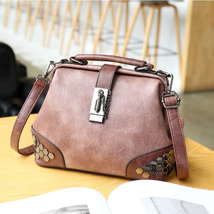 Fashion Women Handbags Women Leather Shoulder Bag Female Crossbody Handbag Totes Lock Chain Rivets Vintage Woman Doctor Bags - LiveTrendsX