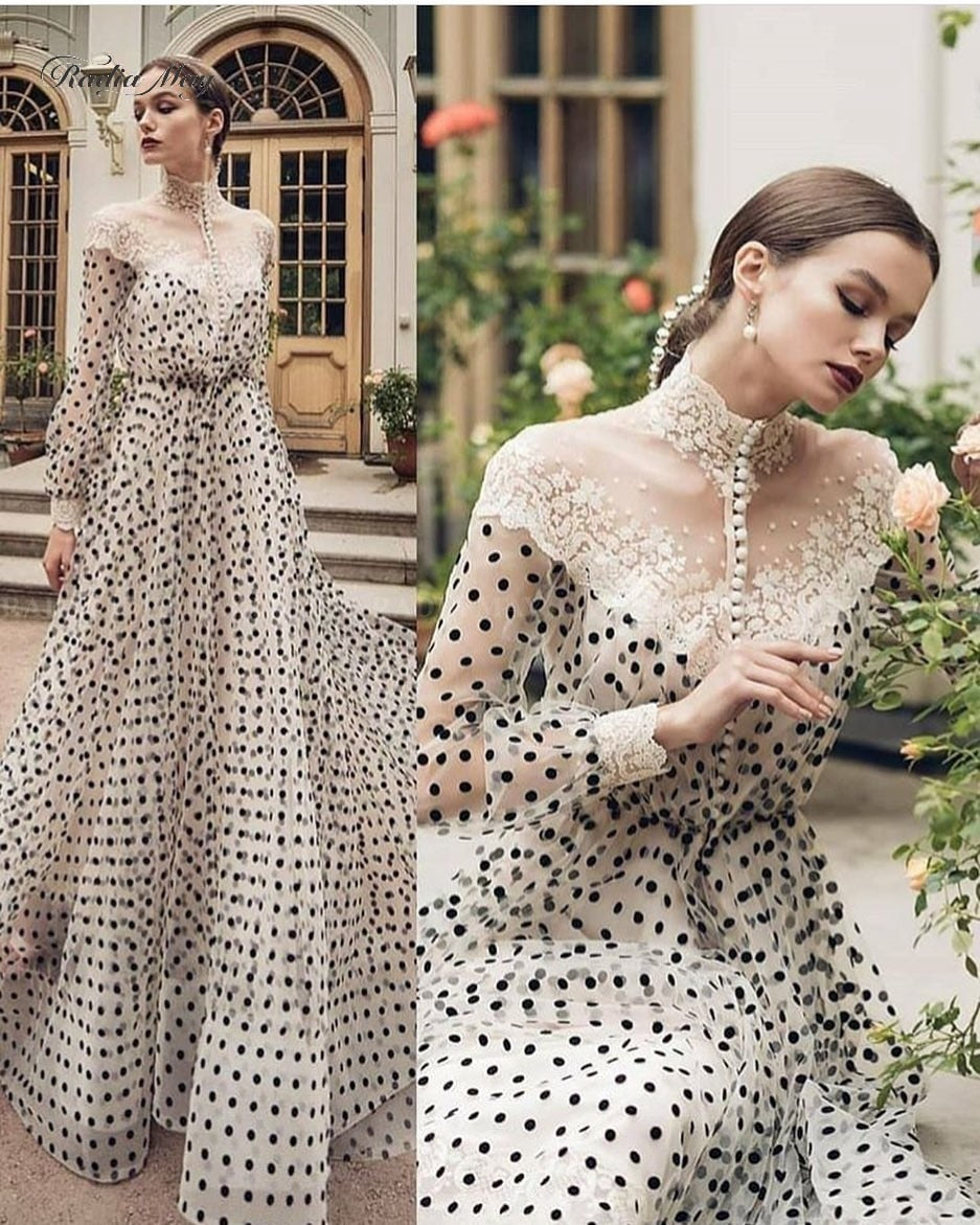 Vintage Lace Black And White Polka Dots Evening Dress Long Sleeves High Neck Arabic Kaftan Dubai Prom Dresses 2020 Formal Gowns - LiveTrendsX