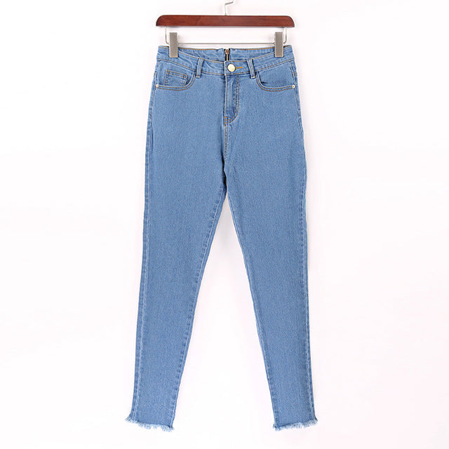 New Hot Sexy Back Zipper Long Jeans Women Basic Classic High Waist Skinny Pencil Blue Denim Pants Elastic Stretch Jeans - LiveTrendsX