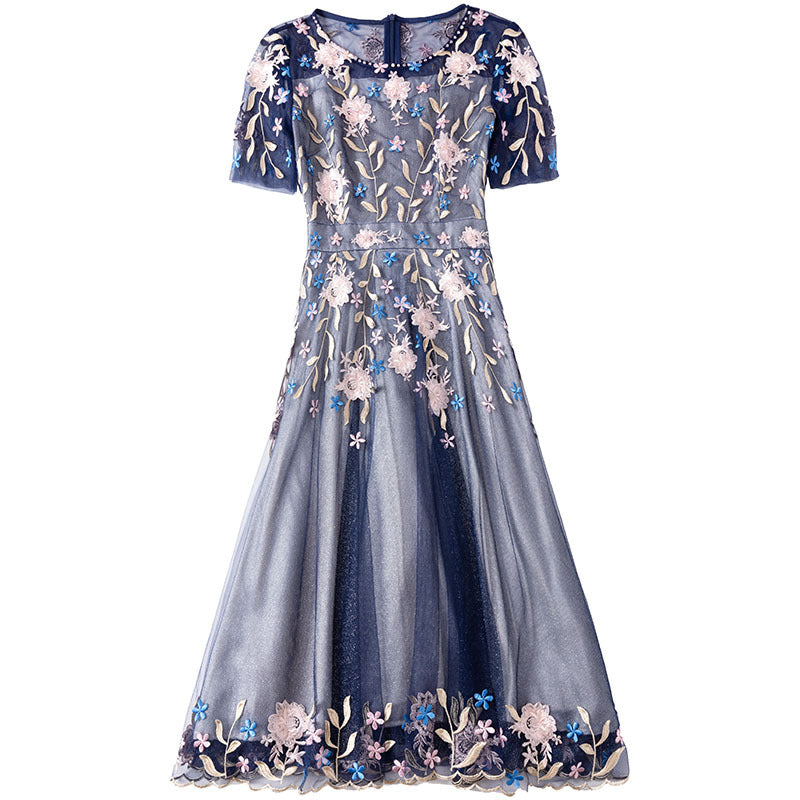 summer new round neck short-sleeved slim high waist dress beaded mesh slim temperament elegant A-line dresses