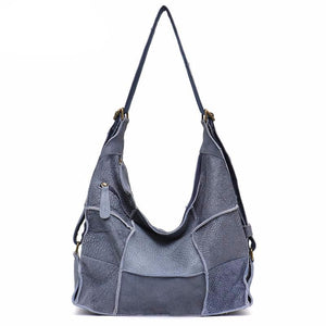 Retro Leather Shoulder Bag for Women Large Vintage Genuine Leather School Girl Messenger Bags Patchwork Causal Knapsack - LiveTrendsX
