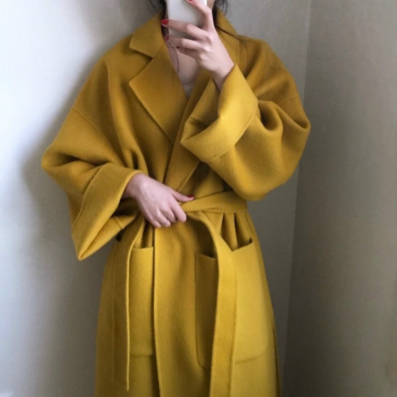 Women yellow Elegant Winter wool Overcoat Long Bandage Woolen Coat Cardigan Loose Plus Size outwear with pocket turn down collar - LiveTrendsX
