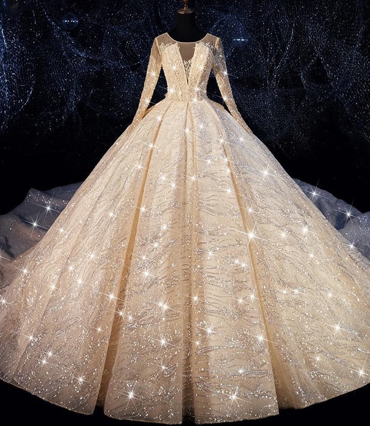 Luxurious sequins Ball Gown Wedding Dress O Neckline Vestidos De Novia Plus Size Bride Dress Prom Wedding Gown - LiveTrendsX