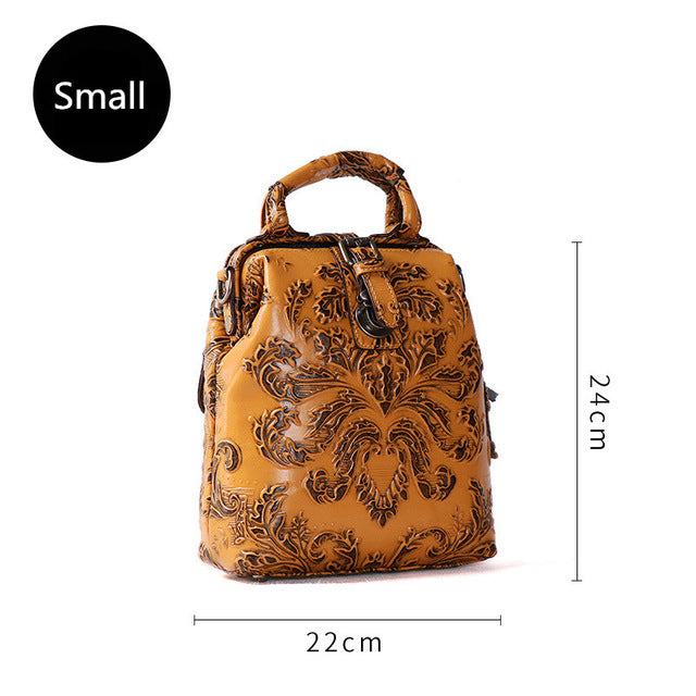 Luxury Vintage Genuine Leather Women Backpacks original first layer leather shoulder bags female handmade ladies Buckle backpack - LiveTrendsX