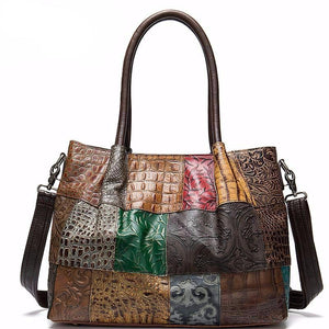 Women's Genuine Leather Handbags Patchwork Women's Shoulder/Crossbody Bags For Women Messenger Bags Leather Casual Tote - LiveTrendsX