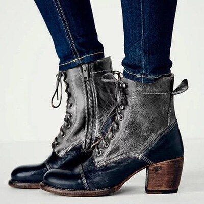 Women wedge shoes autumn boots lace up  leather shoes - LiveTrendsX