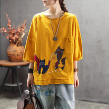 Load image into Gallery viewer, Women Summer Retro Embroidered Loose T-shirt Tees Shirts Ladies Cartoon Cat Tops Female Ripped Holes Tees Shirt - LiveTrendsX