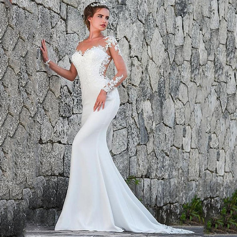 Vintage Mermaid Wedding Dress Scoop-Neck Full Sleeves Wedding Gowns Zipper Back Lace Satin Bride Dress - LiveTrendsX