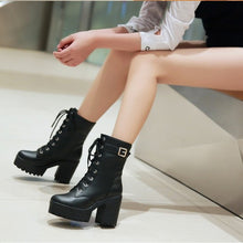 Load image into Gallery viewer, Round Toe Shoes Lace Up High Heel Boots Luxury Designer Martins - LiveTrendsX