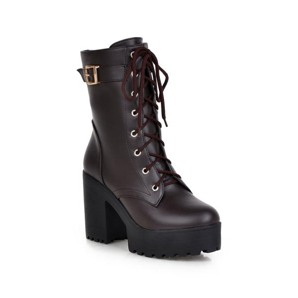 Round Toe Shoes Lace Up High Heel Boots Luxury Designer Martins - LiveTrendsX