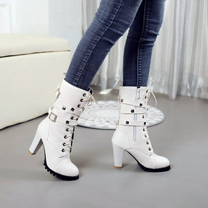 Women Boots Fashion Rivet Motorcycle Boots Autumn Mid Calf Boots - LiveTrendsX