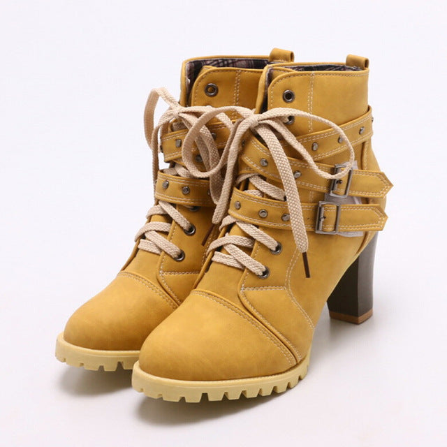Women Boots Round Toe Belt Buckle Rivet Shoes Women Fashion High Thick - LiveTrendsX