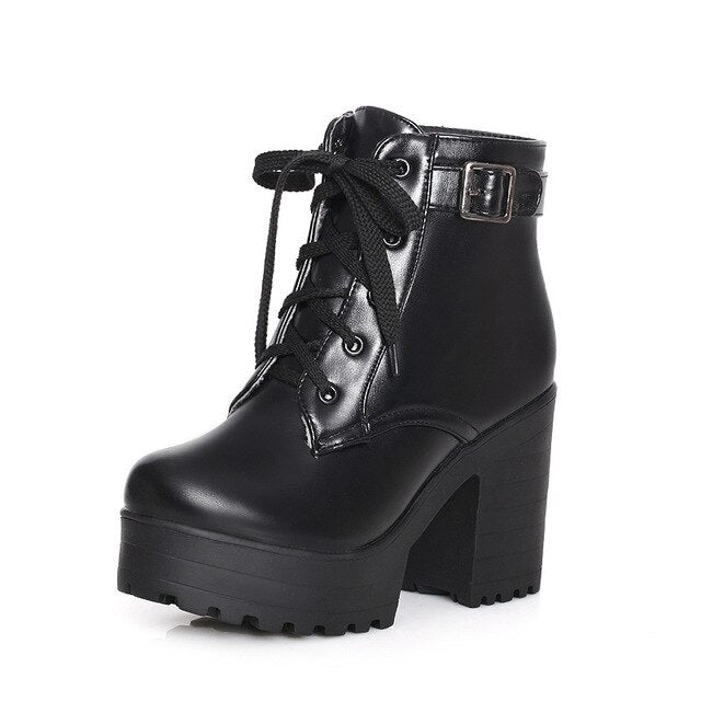 Ankle Buckle Women Boots Lacing Shoes Women Casual Square Heel - LiveTrendsX