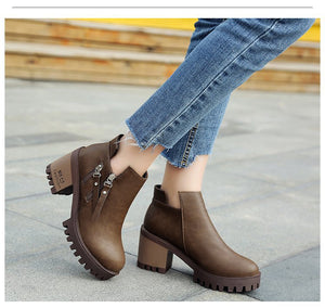 New Women Spring Ankle Boots  High Heel Boots Round Toe Martin Boots - LiveTrendsX