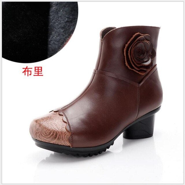 New Cow Leather Ankle Boots Handmade Lady Shoe Genuine Leather Winter Boots - LiveTrendsX