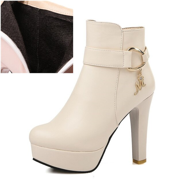 Fashion Ladies Platform Ankle Boots Women High Heel Shoes - LiveTrendsX