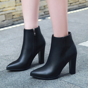 Fashion High Square Heels Ankle Boot Office Ladies Pumps Female Shoes - LiveTrendsX