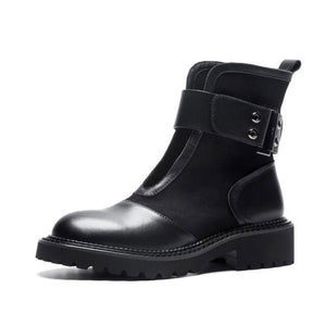 Women's Genuine Leather Round Toe Boots Personality Martin Boots - LiveTrendsX