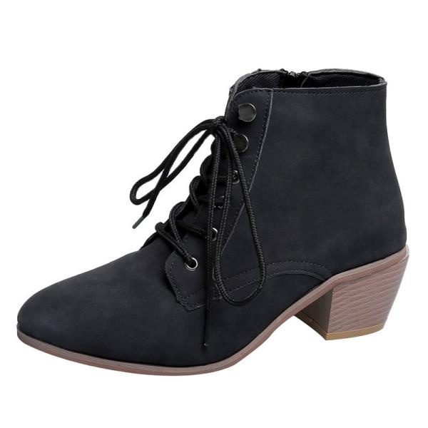 Lace Up Lady Boots Chunky Heel Australia Boots-women Round Toe Shoes - LiveTrendsX