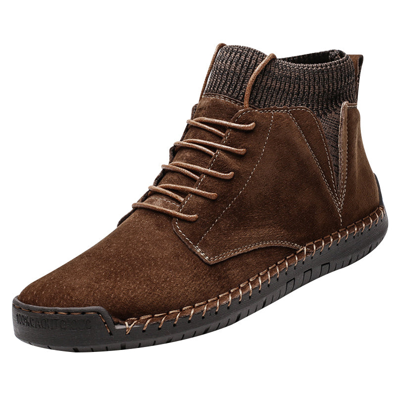 Men Ankle Boots Breathable Synthetic Suede Non-Slip Front Lace-Up - LiveTrendsX