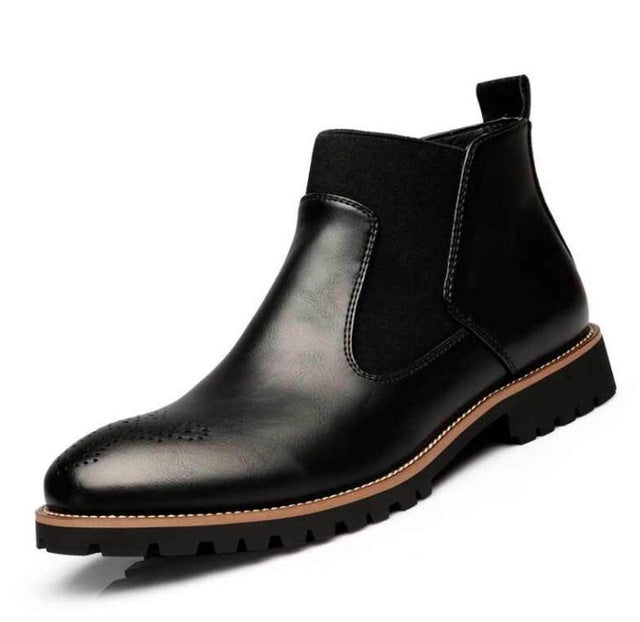 New Men Oxford Genuine Leather Dress Boots Brogue Lace Up Flats - LiveTrendsX