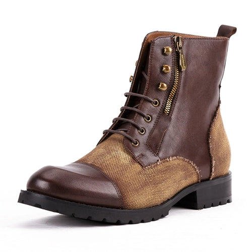Genuine Leather Man High-Top Riding  Platform Shoes Round Toe Men's Handmade Military Ankle Boots - LiveTrendsX