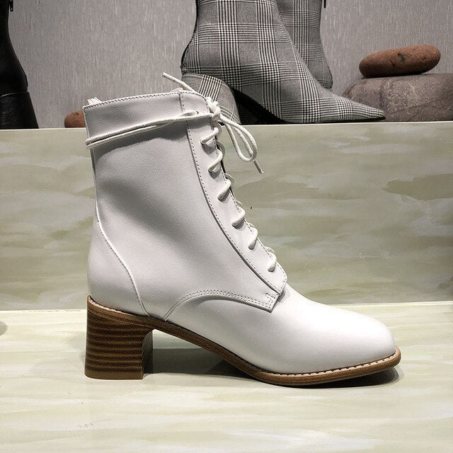 New white Martin boots, leather leather, round head, thick heel, high heel boots, autumn and winter strap-on boots - LiveTrendsX