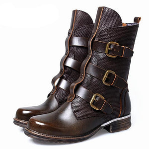 Punk Style Women Riding Boots Straps Buckle Genuine Leather High Boots Female Platform Shoes Woman Winter Autumn - LiveTrendsX