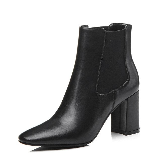 Fashion Genuine Leather Chelsea Boots Women Elastic Ankle Women Boots High Square Heel Ladies Booties Pointed Toe B151 - LiveTrendsX
