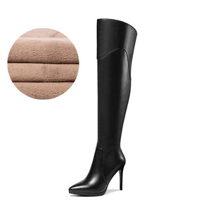 Genuine leather over the knee boots high heel 10cm short plush winter fashion simple zipper pointed toe women's shoes new - LiveTrendsX
