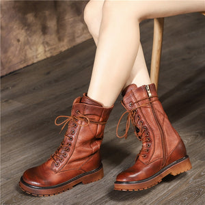 Top quality Full genuine leather boots women vintage autumn winter boots lace up nature cow leather western ankle boots - LiveTrendsX