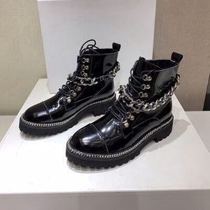 Women Black Genuine Leather Boots Female Motorcycle Boots punk Rivets Chain Shoes Women Winter Ankle Boots Size 35-41 - LiveTrendsX