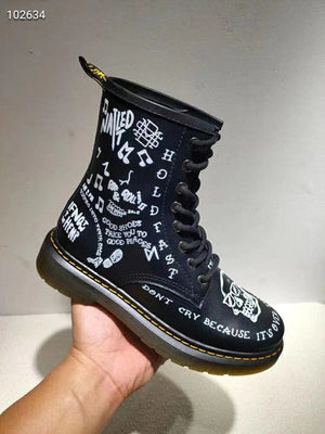 Womens Unisex Genuine Leather Punk 3D Poker Printed Rock Ankle Boots - LiveTrendsX