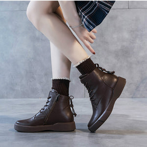 Women Ankle Boots Genuine Leather Flat Heels Autumn Shoes Women Handmade Leather Casual Black Boots Women Martin Boots Riding155 - LiveTrendsX