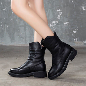 Women Martin Boots Leather Black Winter Shoes 2019 Warm Ankle Boots Women Handmade Genuine Leather Casual Shoes Women Sale - LiveTrendsX