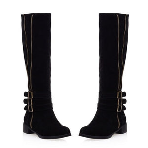 European foreign female leisure knee-high boots boots 924 students low to side with the size of the code - LiveTrendsX