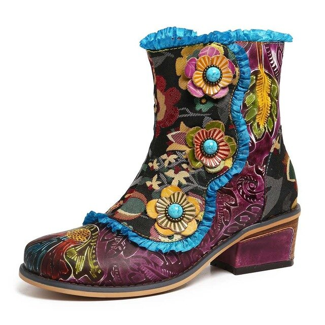 Retro Hand Painted Genuine Leather Flowers Blue Lace Zipper Flat Short Boots Elegant Shoes Women Shoes Botas Mujer - LiveTrendsX