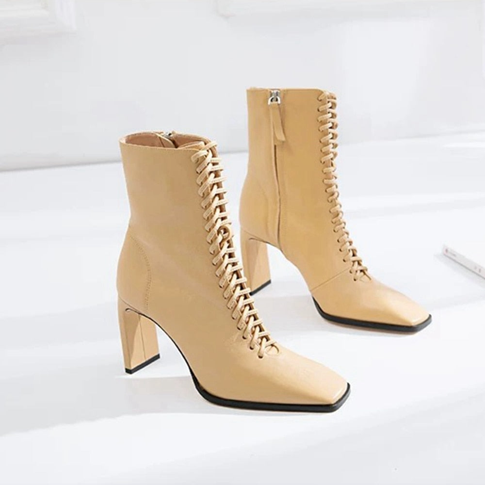 New Design Ankle Boots For Women Pointed Toe Lace Up Genuine Leather - LiveTrendsX