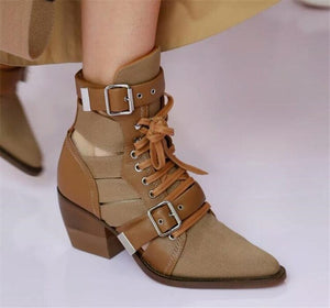 Street Style Women Buckle Ankle Boots Lace-up Shoes Med Heel - LiveTrendsX