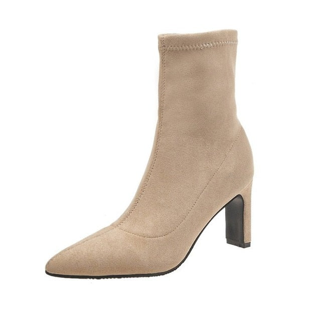 Pointed Booties Female High Heel Suede Fashion Wild Slim Elastic Boots - LiveTrendsX