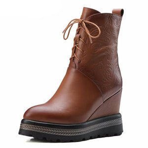 Wedge High Heel Women Shoes Winter Ankle Boots Lace Up - LiveTrendsX