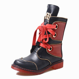 Woman Boots with Rivet Lace-up Martin Boots Thick Low Heel - LiveTrendsX