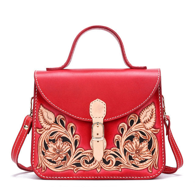 Original famous brand high-end women's bag handmade leather carving Tang grass handbags leather Chinese hand sewing bag women - LiveTrendsX